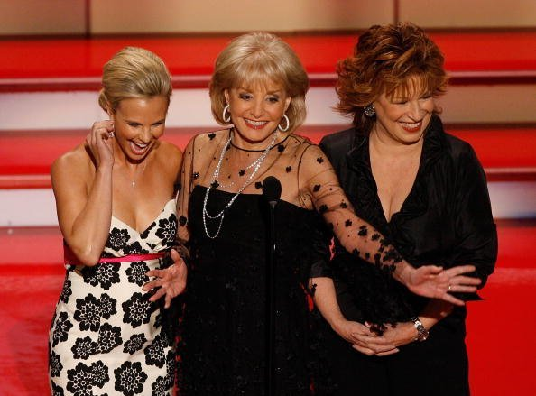 Elisabeth Hasselbeck, Barbara Walters, and Joy Behar speak onstage during the 34th Annual Daytime Emmy Awards held at the Kodak Theatre on June 15, 2007 in Hollywood, California.   Source: Getty Images
