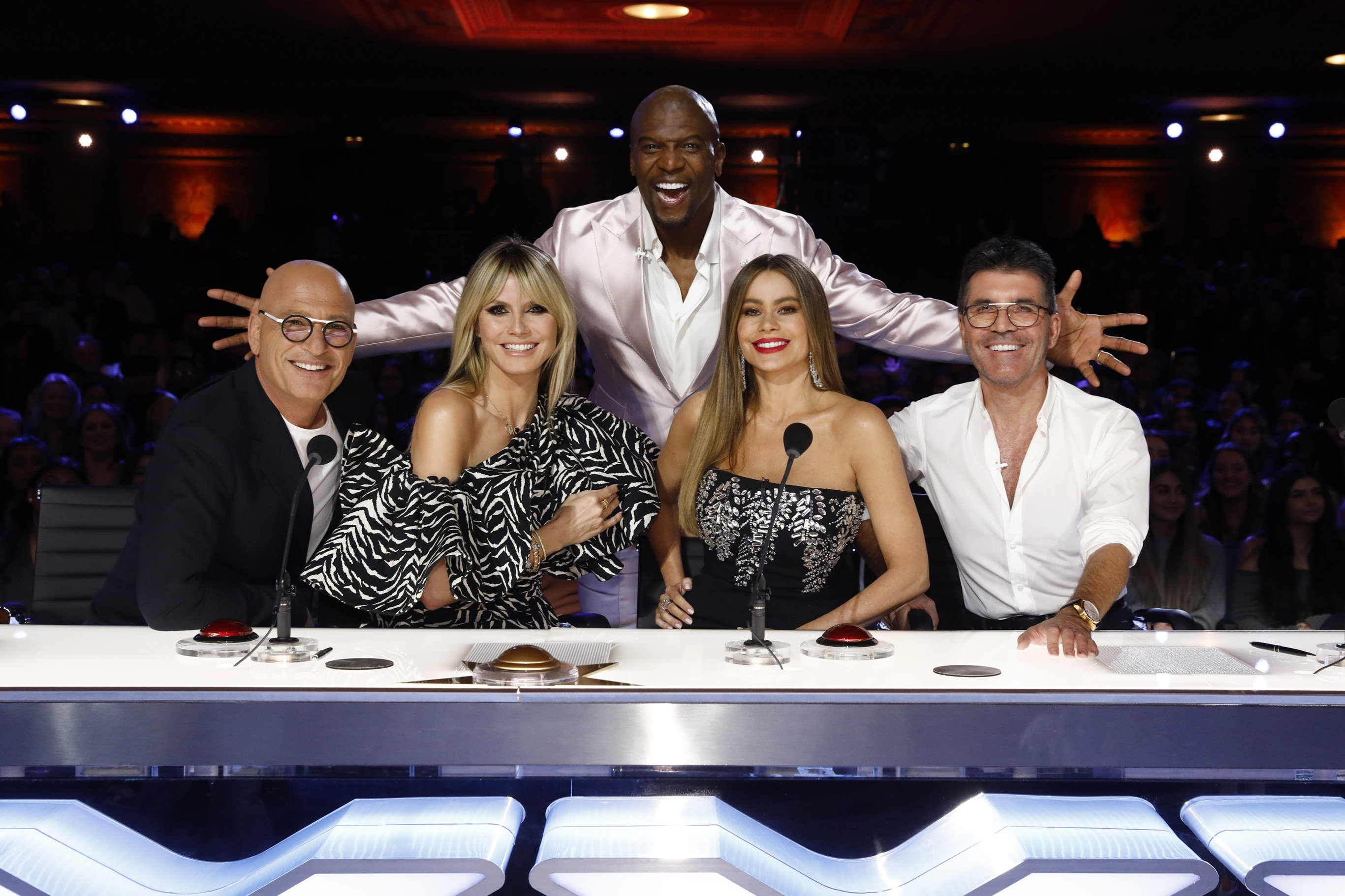 Host Terry Crews, standing with judges of America's Got Talent Season 15. | Getty Images.