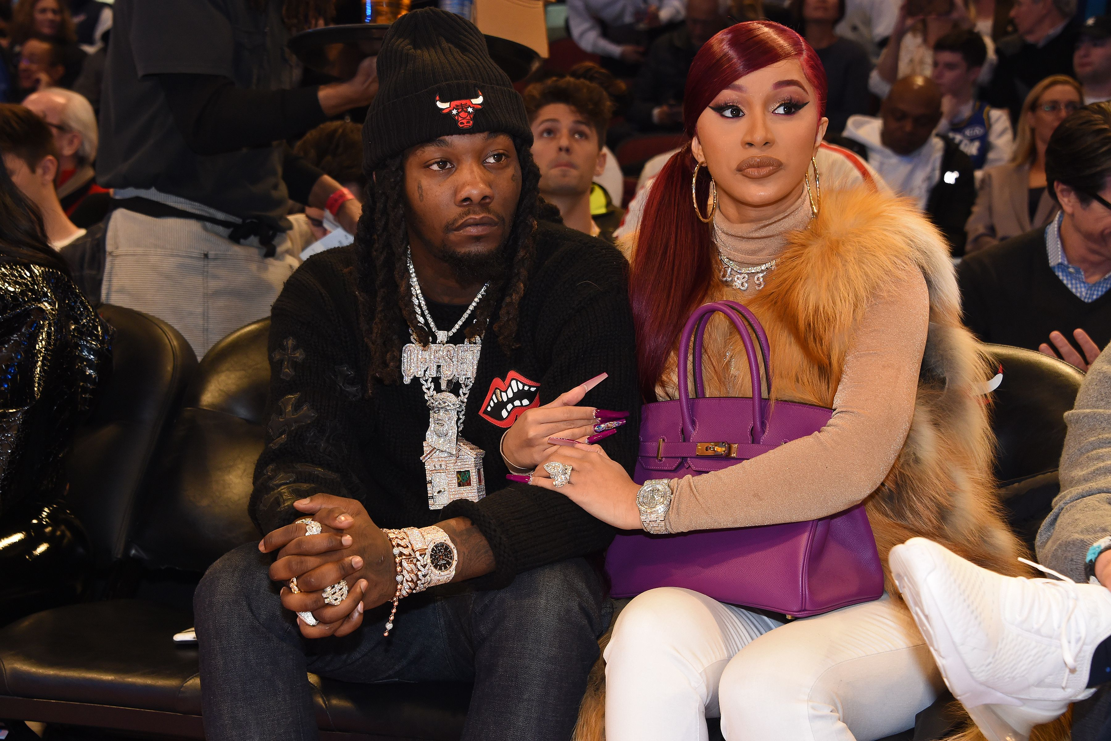Rappers Offset and Cardi B at the 69th NBA All-Star Game as part of the 2020 NBA All-Star Weekend on February 16, 2020 | Photo: Getty Images