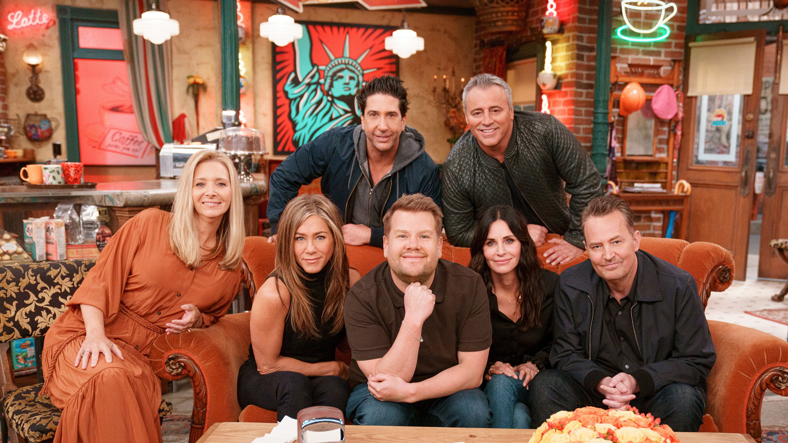 """Lisa Kudrow, Jennifer Aniston, Courteney Cox, David Schwimmer, Matt LeBlanc, and Matthew Perry join James Corden for a Friends Reunion Special during """"The Late Late Show with James Corden"""" 