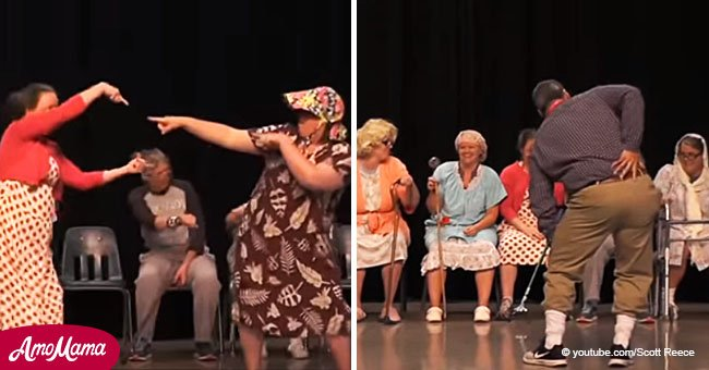 Bunch of grandmas were about to dance to 'Golden Girls' theme song when the music suddenly changed