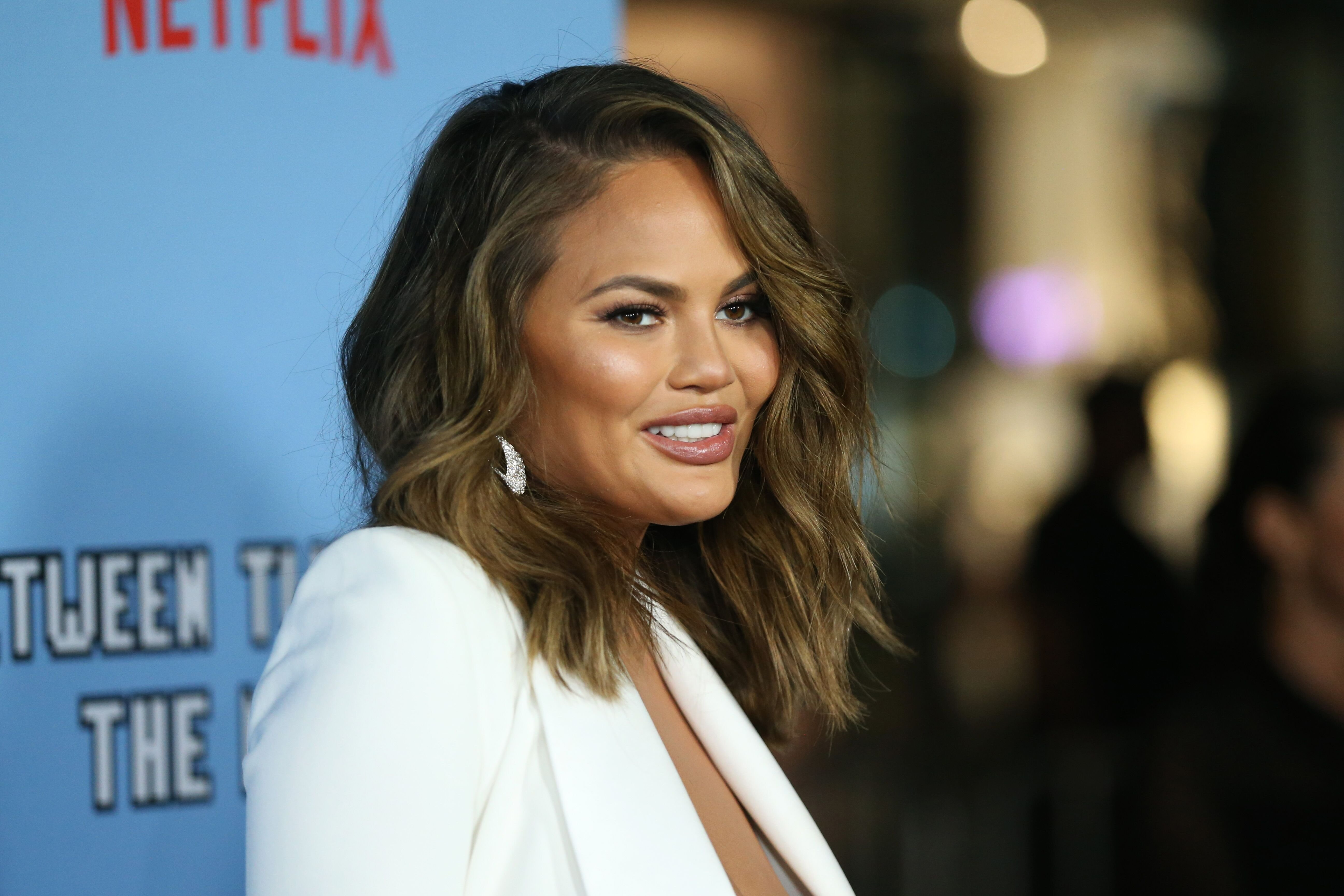"Chrissy Teigen at the LA premiere of Netflix's ""Between Two Ferns: The Movie"" on September 16, 2019, in Hollywood, California 