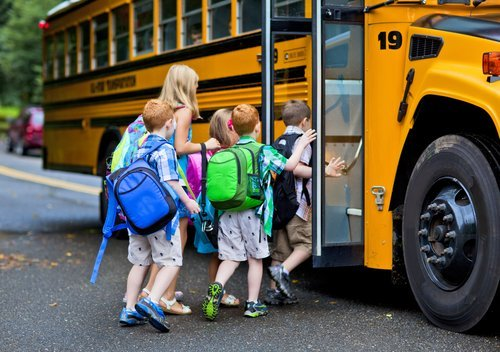 A group of young children getting on the schoolbus | Photo: Shutterstock.com