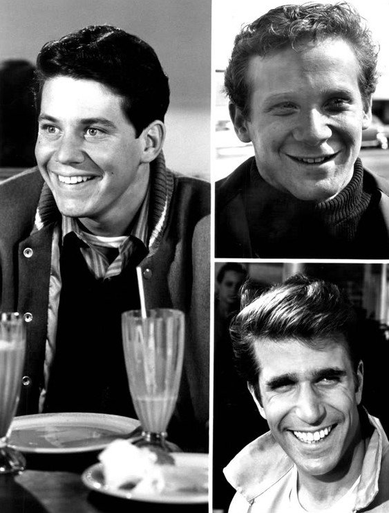 "Cast photo from the television program ""Happy Days"". Pictured are Anson Williams, Donny Most, Henry Winkler 
