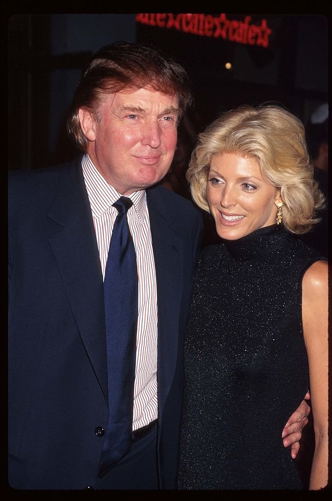 """Real estate mogul Donald Trump and wife Marla Maples attend the premiere of """"Tin Cup"""" 