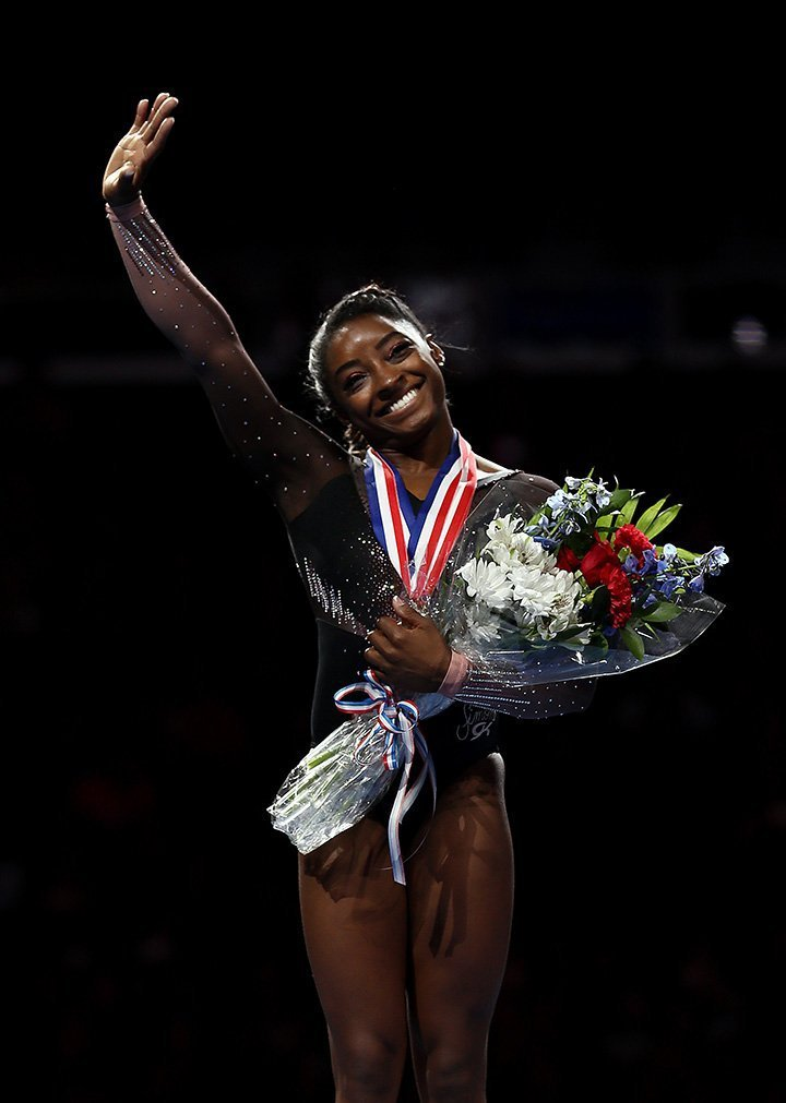 Simone Biles at the 2019 US Gymnastics Championships at the Sprint Center on August 11, 2019 in Kansas City, Missouri.   Source: Getty Images.