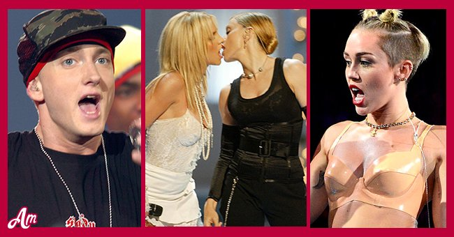Pictures of Eminem, Britney Spears, Madonna and Miley Cyrus | Photo: Getty Images