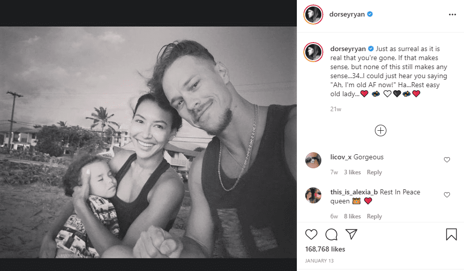 Ryan Dorsey shared a Instagram post to pay tribute to Naya Rivera for her 34th birthday.   Instagram/dorseyrayn