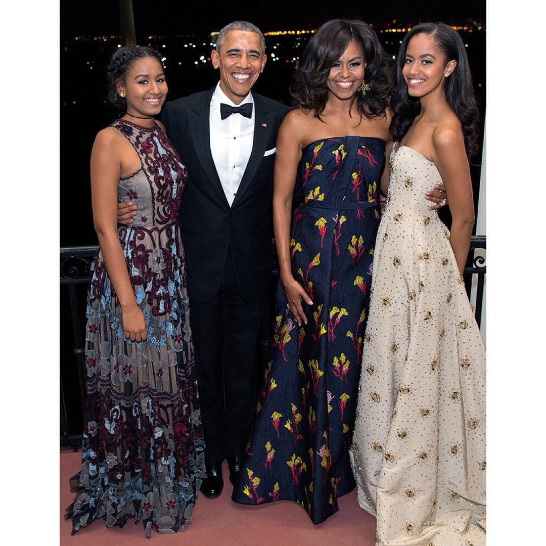 President Barack Obama, wife Michelle, and daughters Malia and Sasha at the State Dinner held in honor of Canadian Prime Minister Justin Trudeau on March 10, 2016 l Source: Getty Images