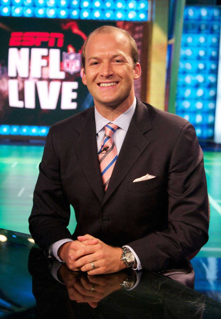 ESPN anchor Tim Hasselbeck is shown posing for a photo on the NFL studio set in Bristol, Connecticut on August 11, 2008 | Photo: GettyImages