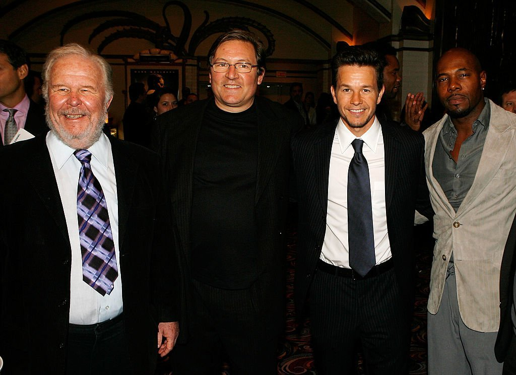 """Ned Beatty, producer Lorenzo di Bonaventura, actor Mark Wahlberg and director Antoine Fuqua arrive at the Paramount Pictures premiere of the film """"Shooter."""" 