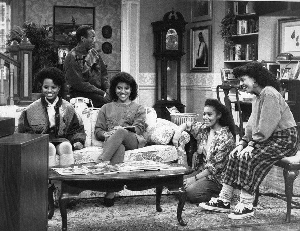 """Cast of """"The Cosby Show"""" on set. 