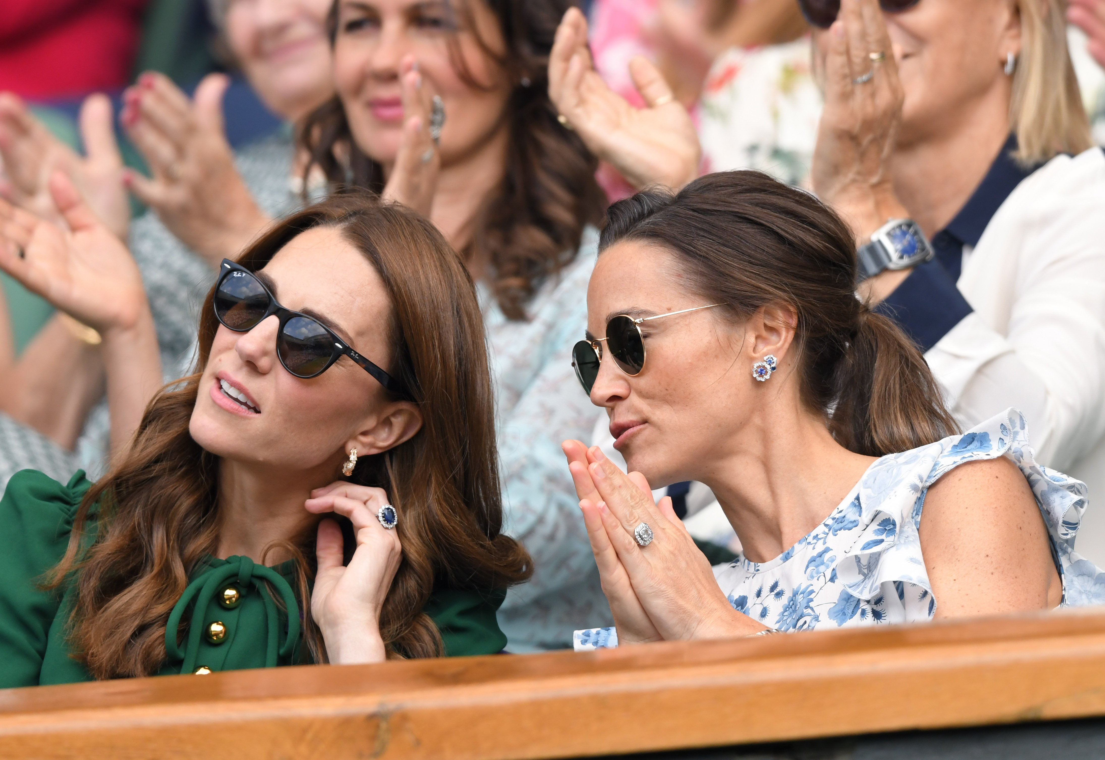 Catherine, Duchess of Cambridge and Pippa Middleton in the Royal Box on Centre Court during day twelve of the Wimbledon Tennis Championships at All England Lawn Tennis and Croquet Club on July 13, 2019 | Photo: Getty Images