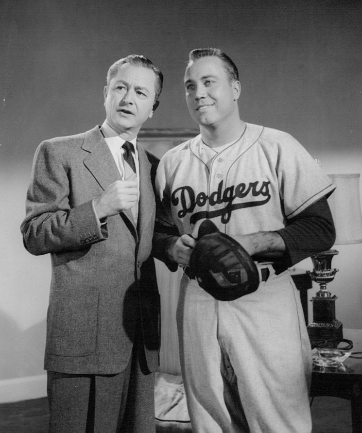 Photo of Robert Young as Jim Anderson and Dodgers player Duke Snider in 1957. | Source: Wikimedia Commons.