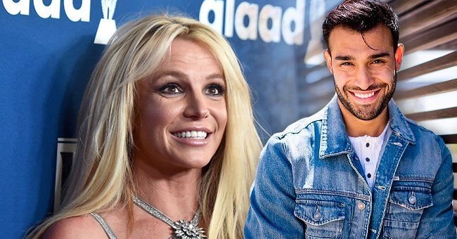 Britney Spears on April 12, 2018 in Beverly Hills, California, and Sam Asghari's Instagram post from June 23, 2021 | Photo: Getty Images - Instagram/samasghari