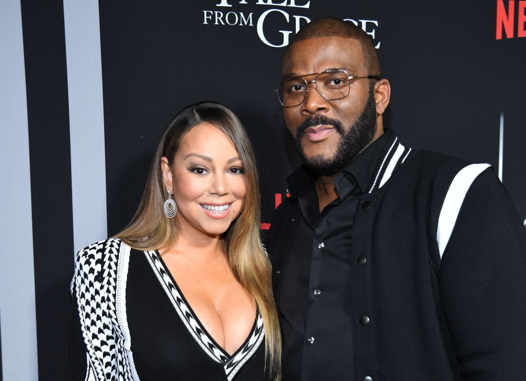 """Mariah Carey and Tyler Perry attend the premiere of Tyler Perry's """"A Fall From Grace"""" at Metrograph 