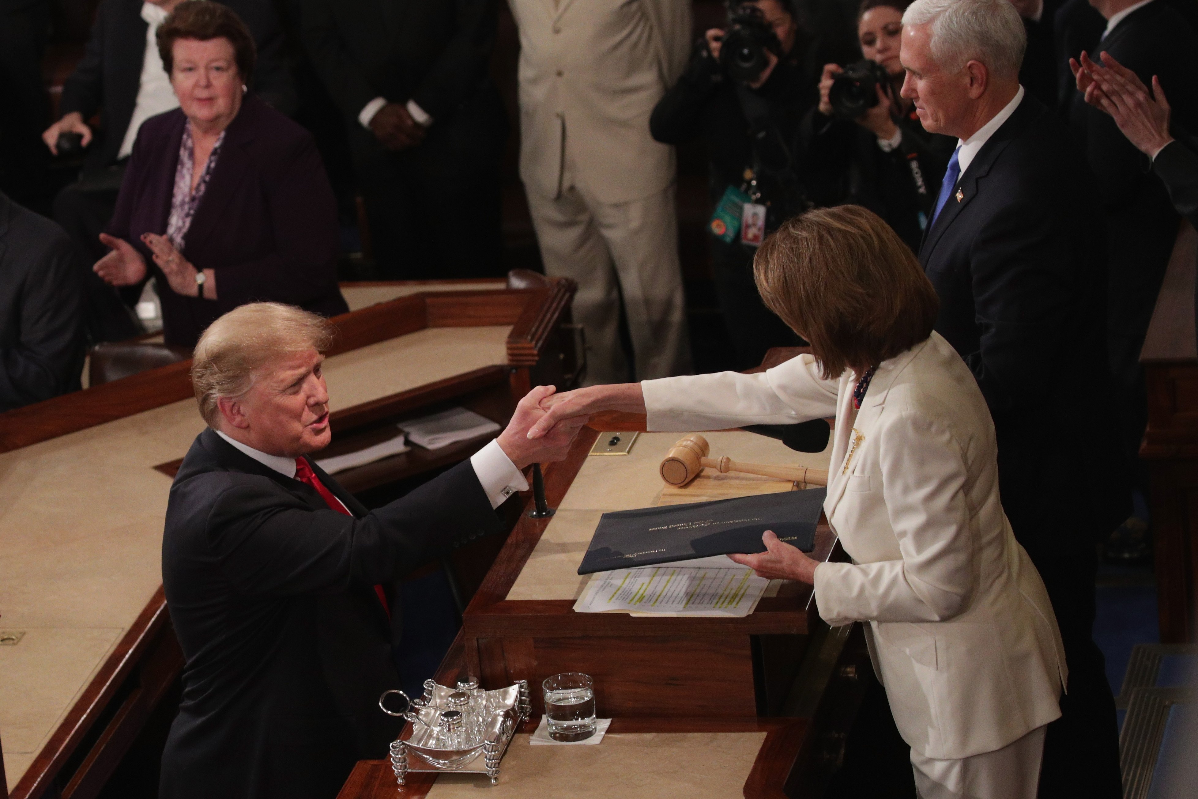 Nancy Pelosi greeting President Donald Trump at the State of the Union in February 2019   Photo: Getty Images