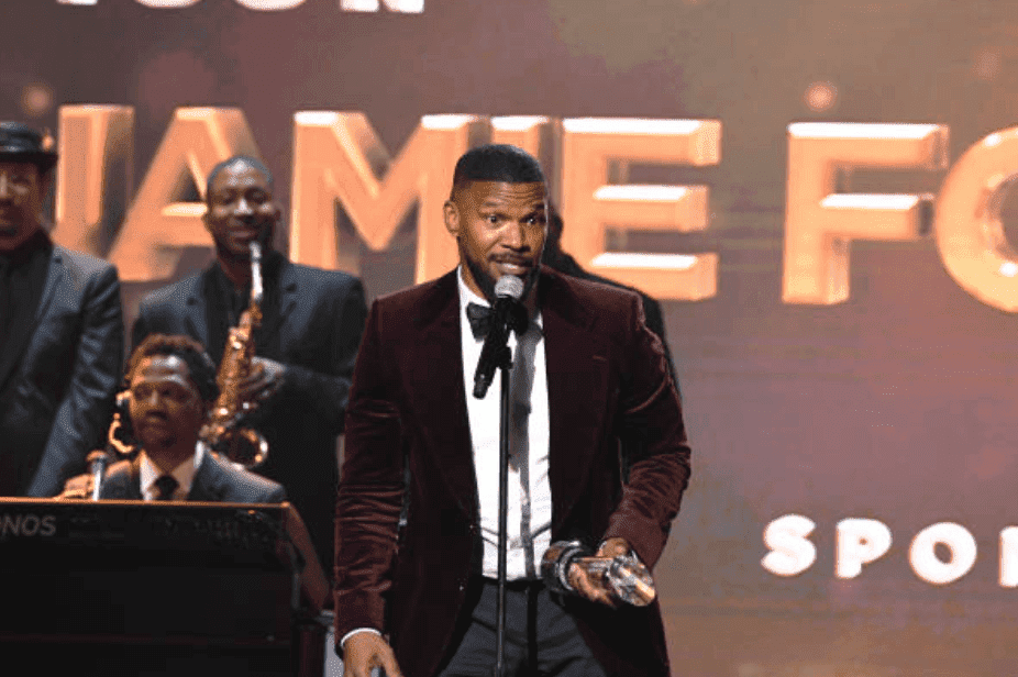 Jamie Foxx says a speech onstage after accepting his award at the 2019 Urban One Honors, at the MGM National Harbor, on December 05, 2019, in Oxon Hill, Maryland Source: Griffin/Getty Images