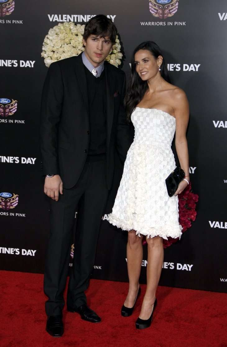"Demi Moore and Ashton Kutcher at the Los Angeles premiere of ""Valentine's Day."" Source: Shutterstock"