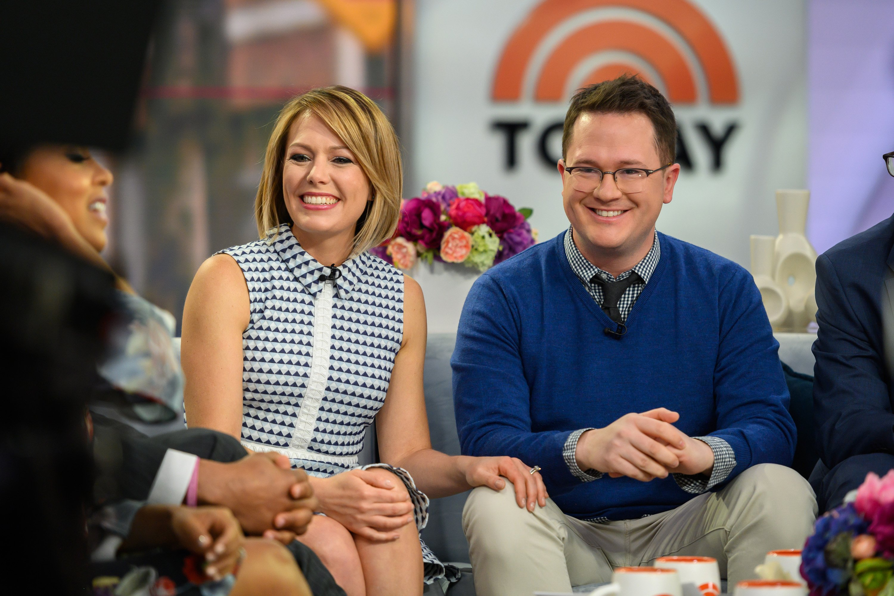 """Dyland Dreyer and husband Brian Fichera on the set of the """"Today Show"""" on April 22, 2019 