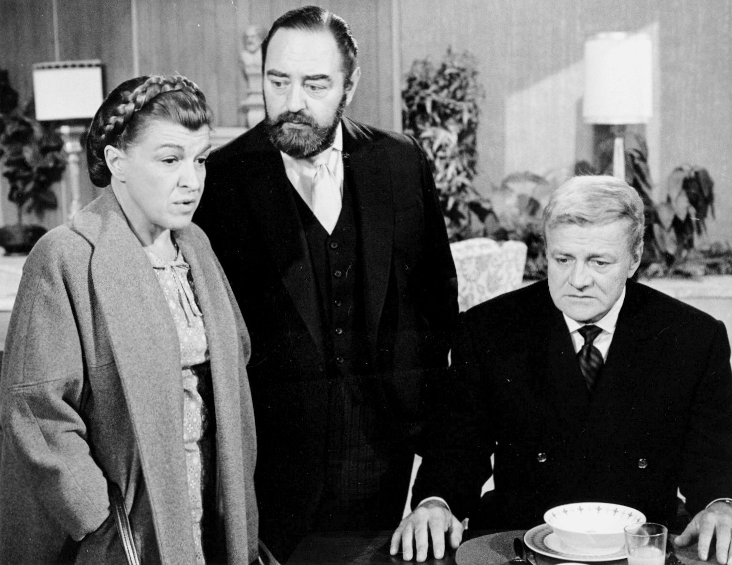 """Sebastian Cabot, Nancy Walker, and Brian Keith in a 1970 promotional photograph for """"Family Affair"""" 