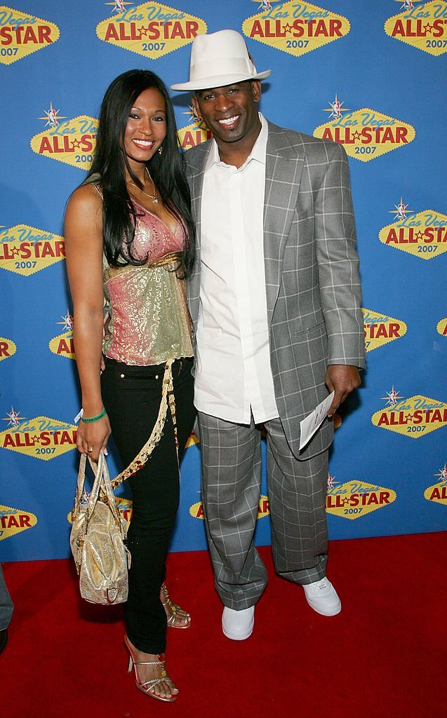Deion Sanders (R) and his wife Pilar arrive at the 2007 NBA All-Star Game at the Thomas & Mack Center | Photo: Getty Images