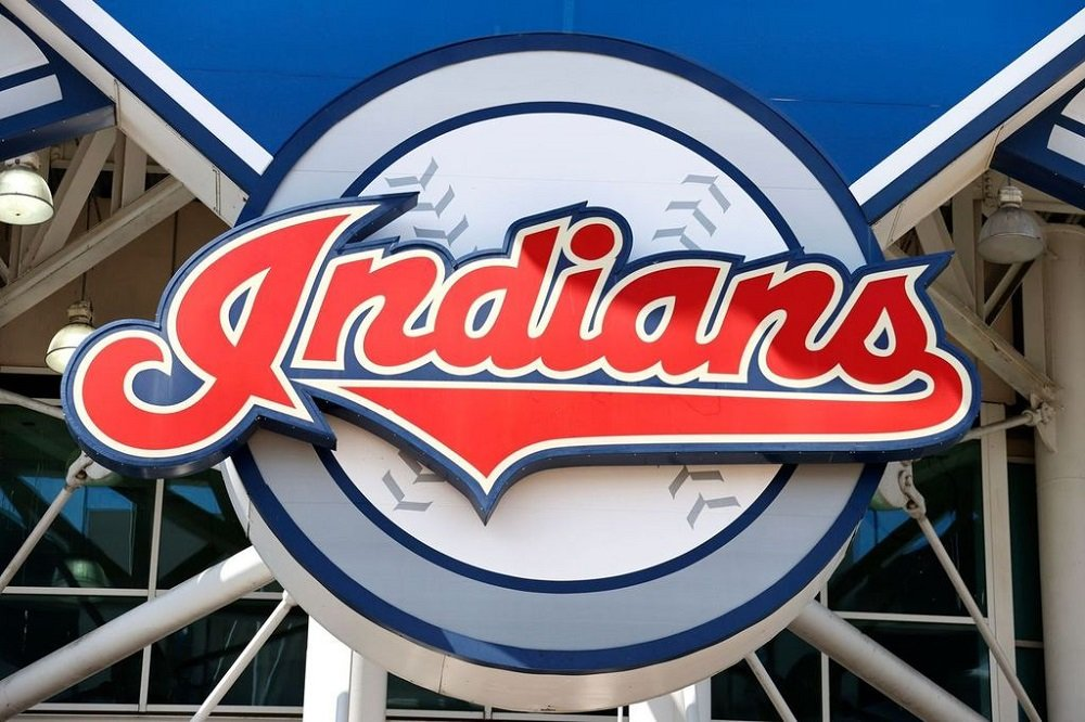 The Cleveland Indians team logo outside Progressive Field before they play an intrasquad game during summer workouts in Cleveland, Ohio in July 2020. | Image: Getty Images.
