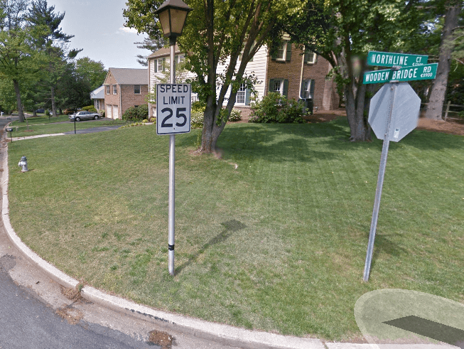 Corner of Bridgewater Road and Northline Court in Potomac, Md. | Photo: Google maps