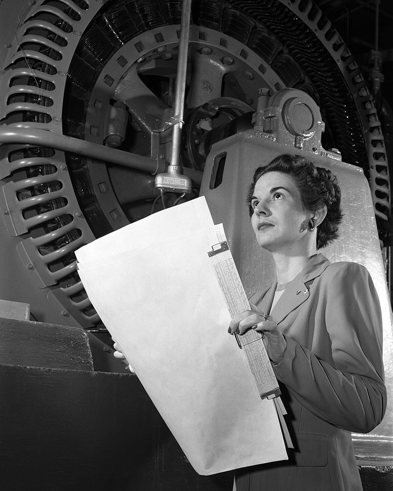 Kitty Joyner, an electrical engineer for the NACA, at work in 1952. | Source: Wikimedia Commons/NACA