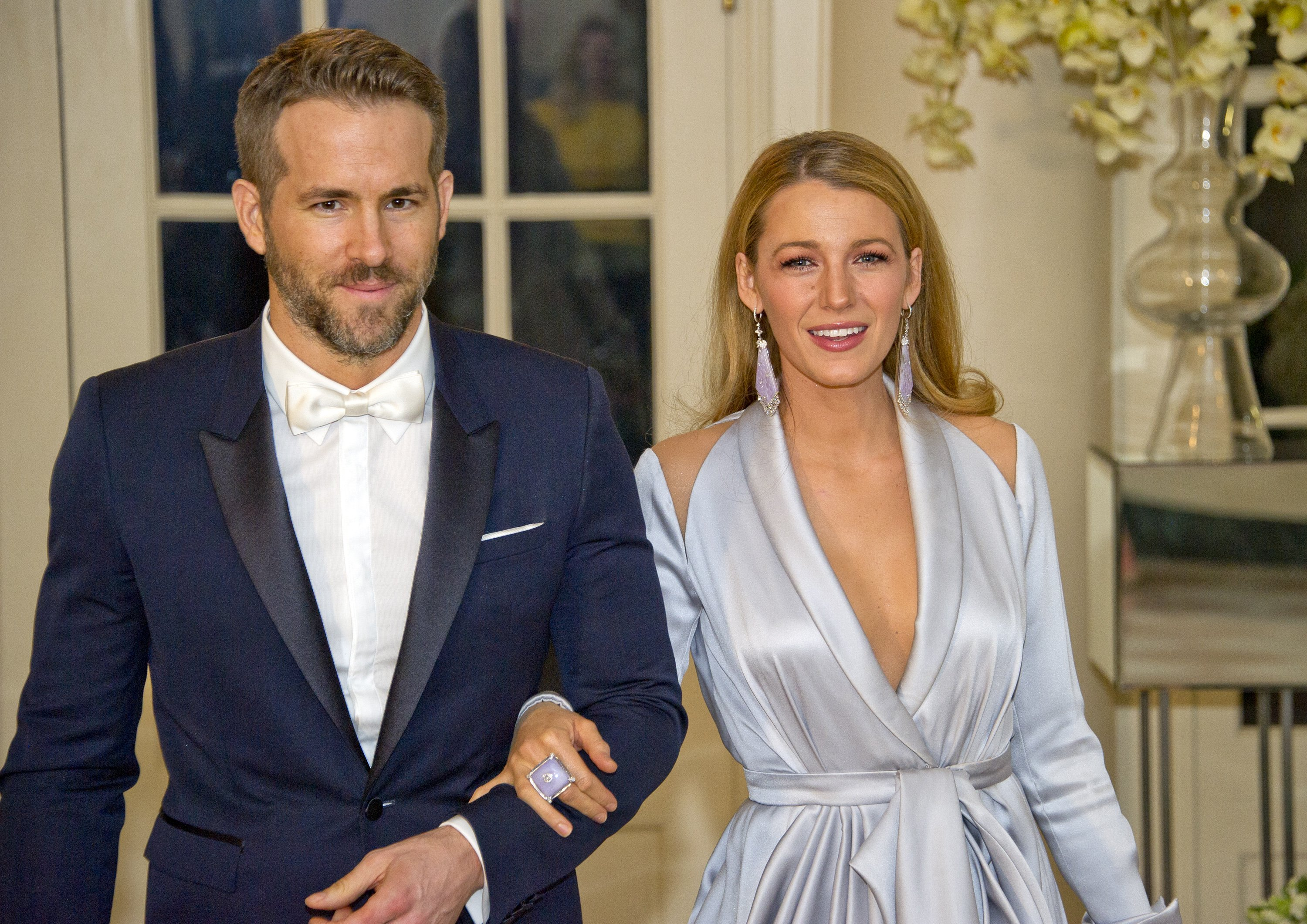 Ryan Reynolds and Blake Lively arrive for the State Dinner at the White House on March 10, 2016.   Photo: Getty Images