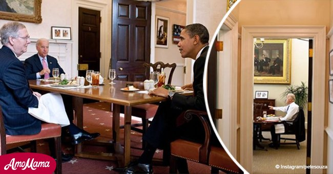 Ex White House photographer took to Instagram to show what Obama really did in the dining room