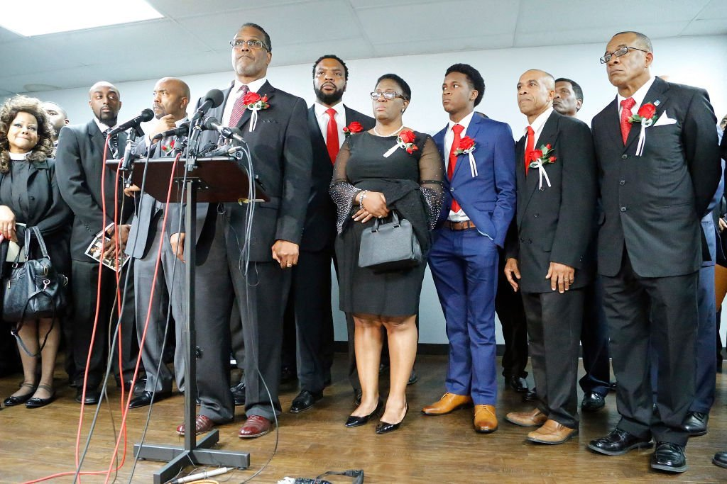 Sammie L. Berry invites questions after making a statement at the press conference following the funeral service for Botham Shem Jean at Greenville Avenue Church of Christ in Richardson, Texas | Photo: Getty Images