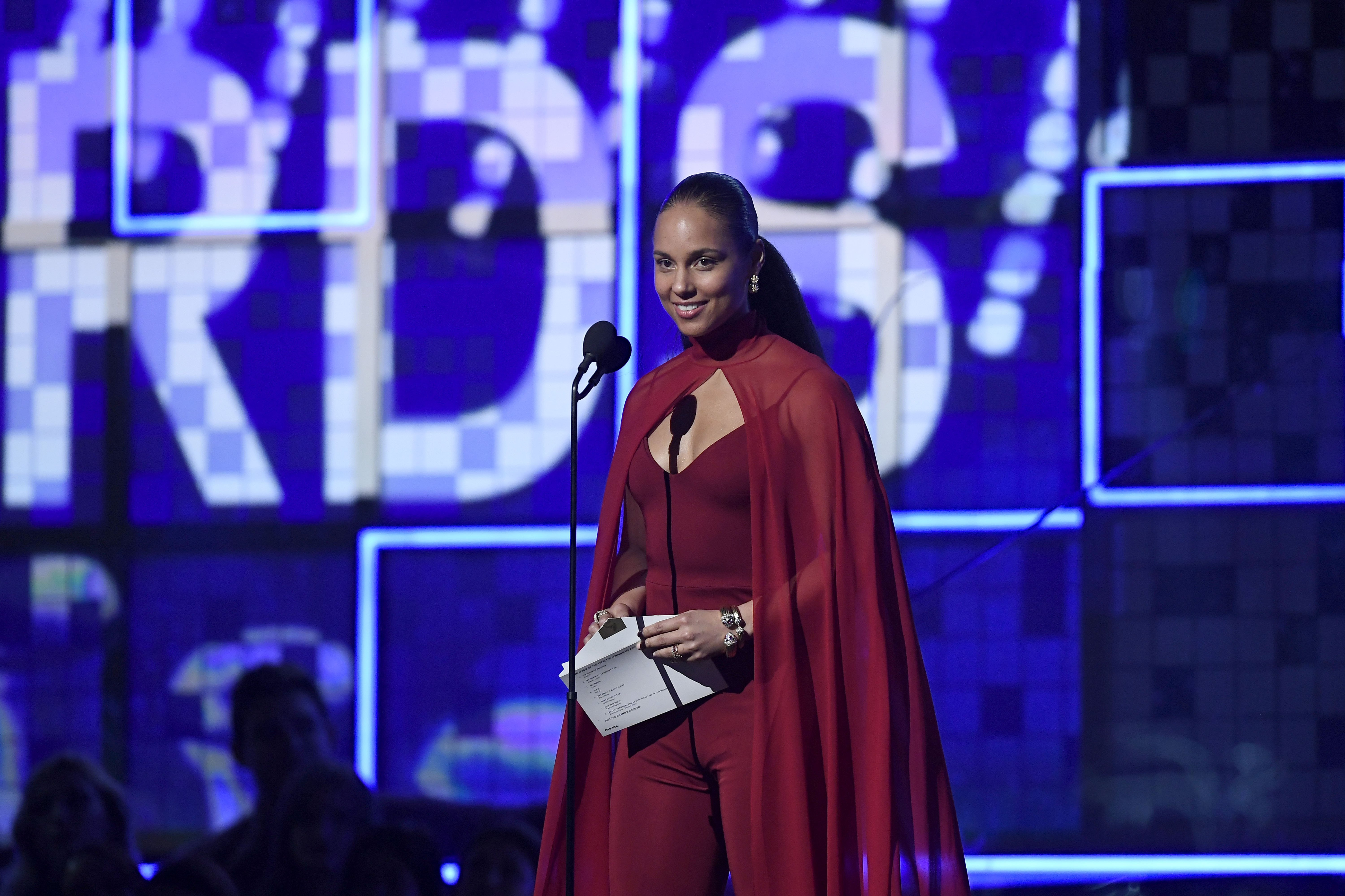 Host Alicia Keys speaks onstage during the 61st Annual GRAMMY Awards at Staples Center on February 10, 2019, in Los Angeles, California. | Source: Getty Images.