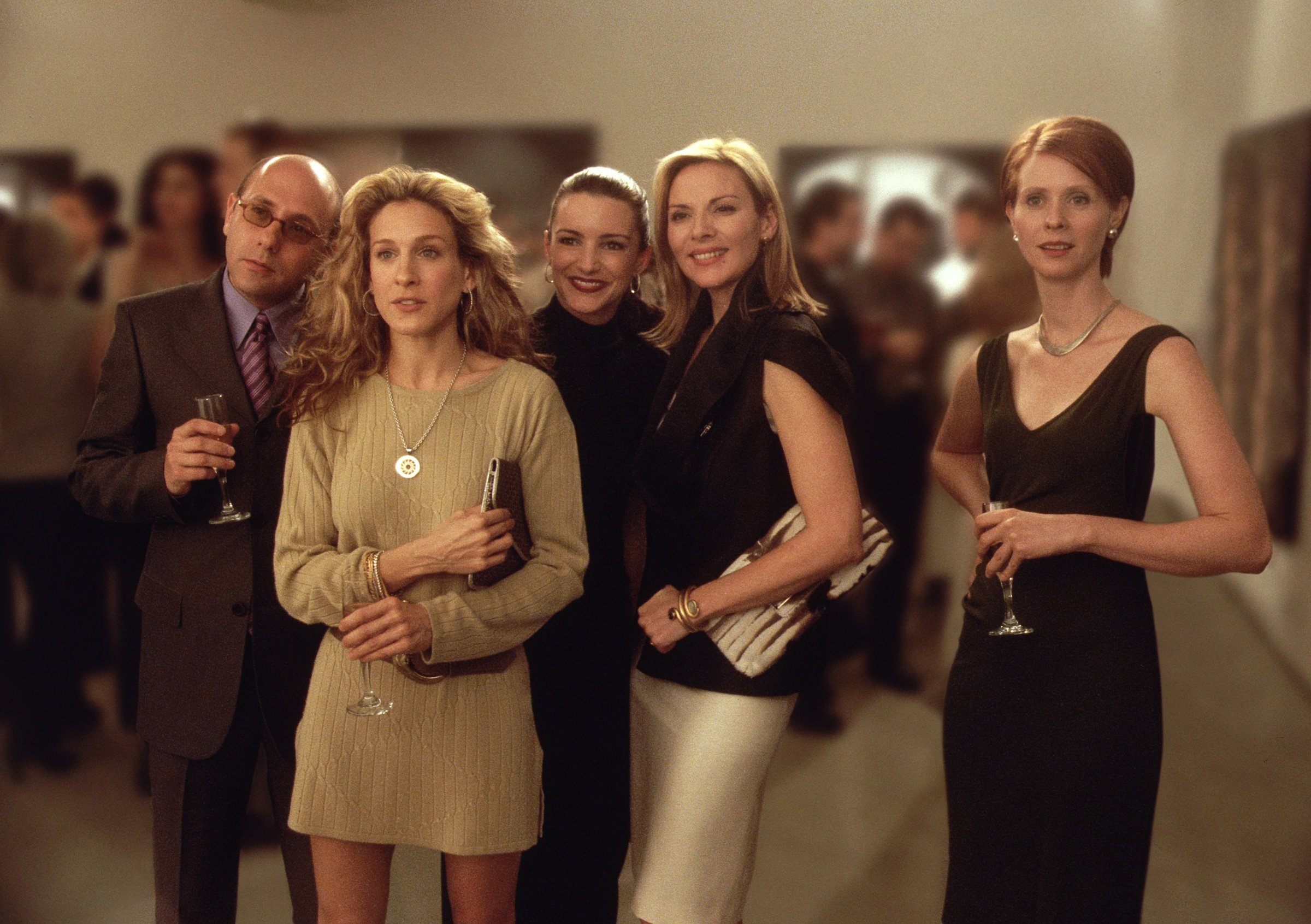 """Willie Garson, Sarah Jessica Parker, Kristin Davis, Kim Cattrall, and Cynthia Nixon pictured during the third season of """"Sex and the City,"""" 
