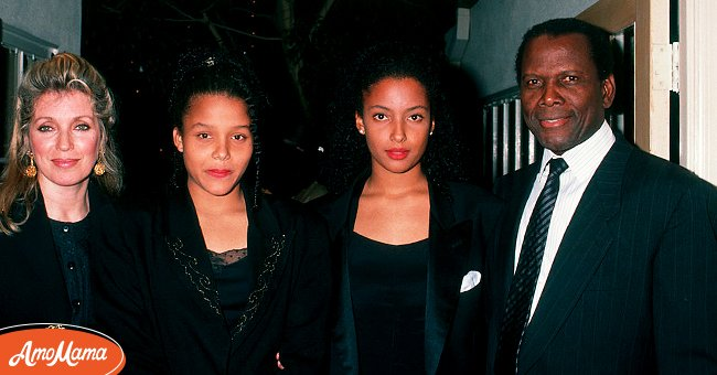 Joanna Shimkus, daughters and Sidney Poitier during 1989 United Negro College Fund Awards in Los Angeles, California, United States. | Source: Getty Images