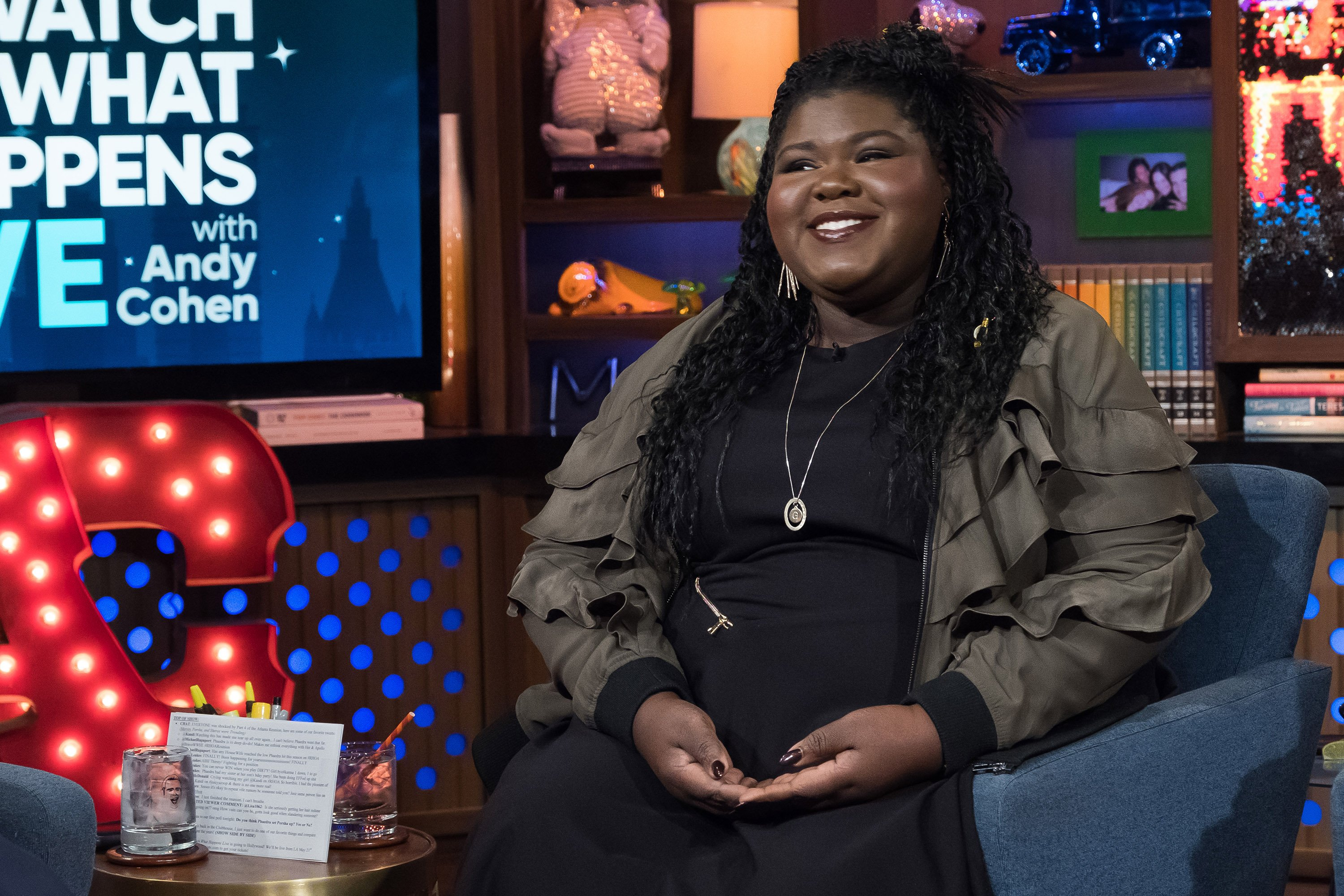 "Gabourey Sidibe pictured on the set of ""Watch What Happens Live with Andy Cohen"" Season 14. 
