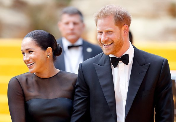 "The Duke and Duchess of Sussex during the ""Lion King"" premiere in London 