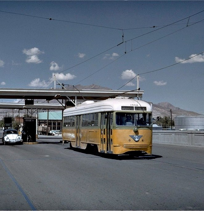 A streetcar on the former El Paso–Juárez streetcar line in the 1960s   Source: Getty Images