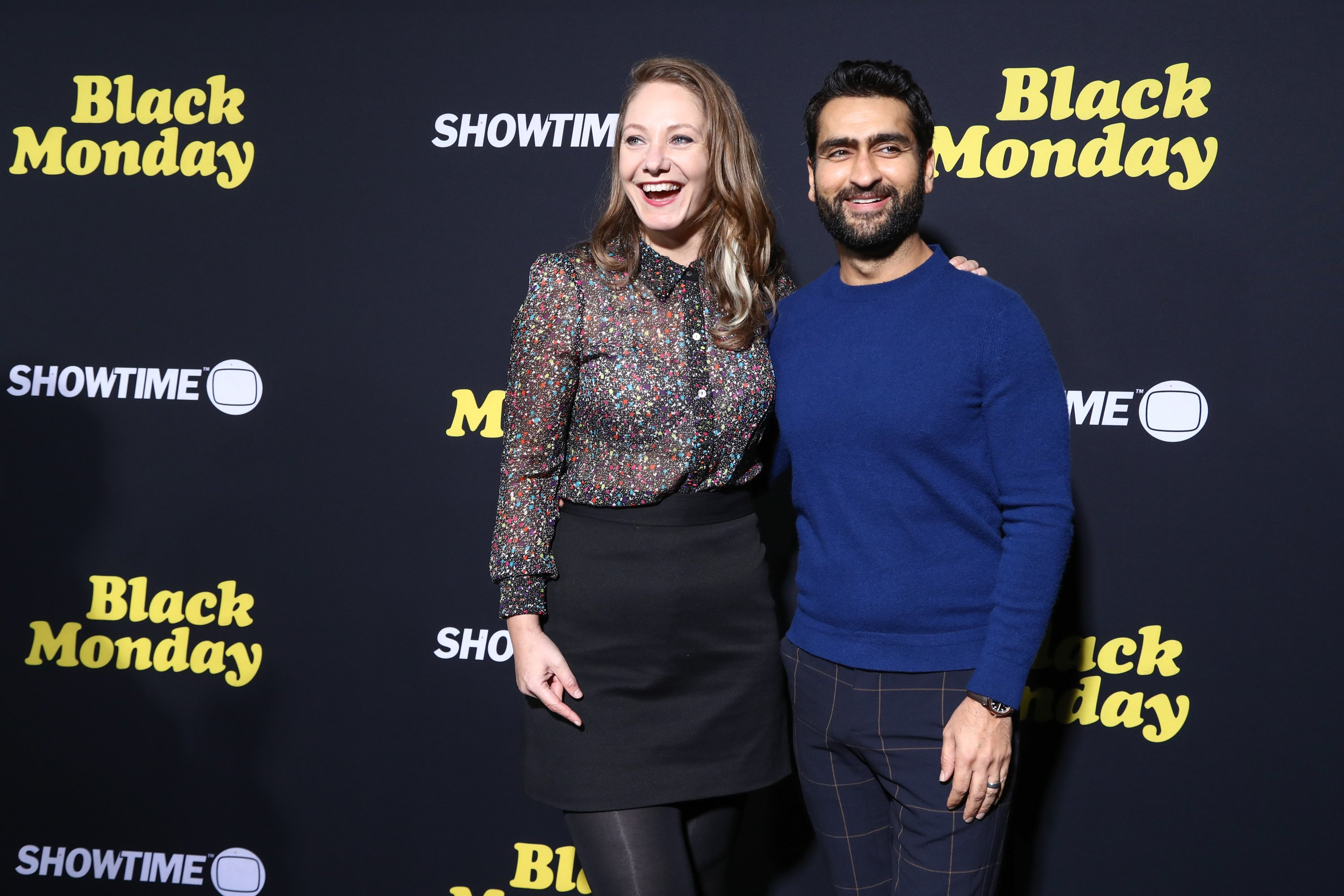 """Emily V. Gordon and Kumail Nanjiani at the premiere of Showtime's """"Black Monday"""" in January 2019 in Los Angeles.   Photo: Getty Images"""