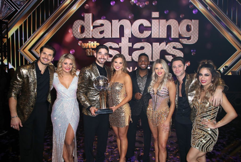 """Gleb Savchenko, Lauren Alaina, Alan Bersten, Hannah Brown, Kel Mitchell, Witney Carson, Sasha Farber and Ally Brooke pose at """"Dancing with the Stars"""" Season 28 Finale at CBS Television City. 