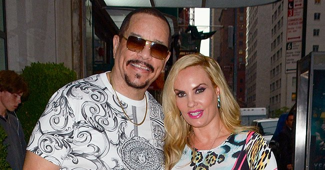 Ice-T's Wife Coco Steals Hearts Displaying Her Figure in a Red T-Shirt & Lip-Printed Leggings