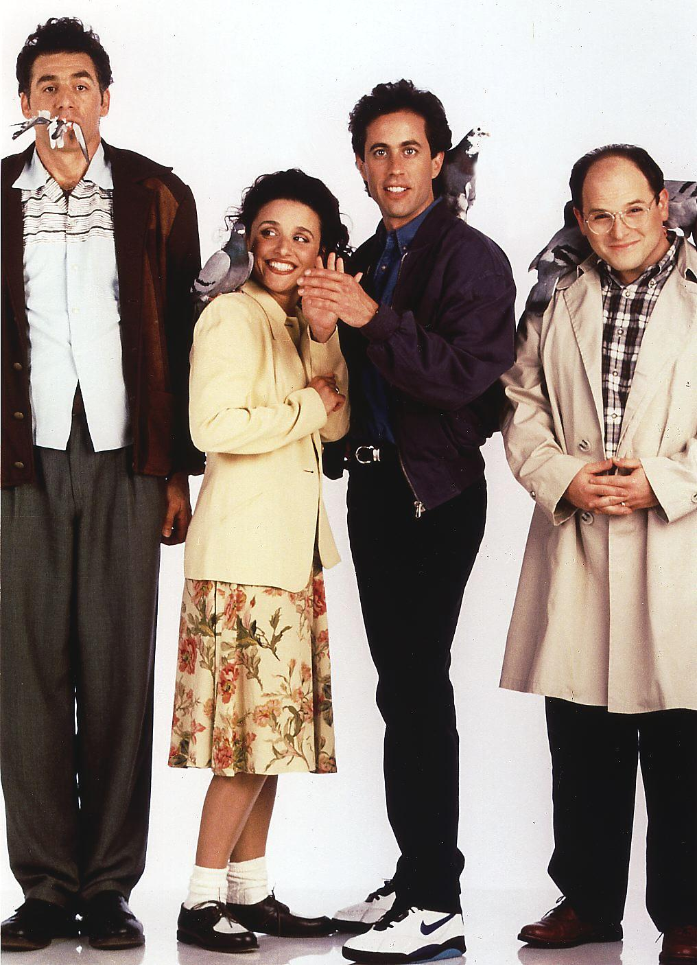 """The cast of """"Seinfeld"""" poses for a promotional photo, 1998 