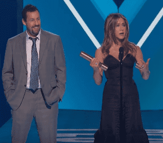Jennifer Aniston and Adam Sandler on stage at the 2019 People's Choice Awards. | Source: YouTube/ E! Red Carpet & Award Shows