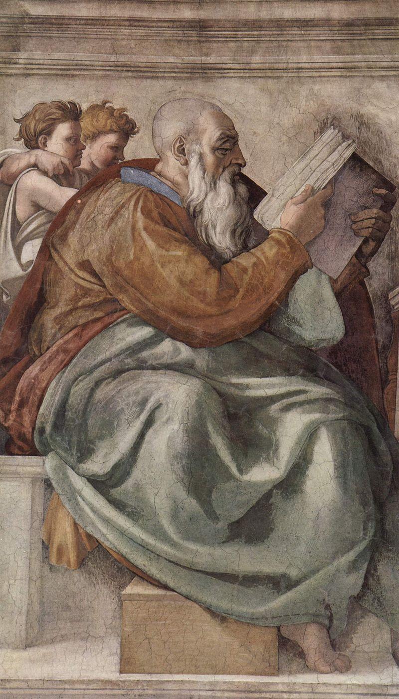 San Zacarías, representado por Miguel Ángel en la Capilla Sixtina.| Fuente: Wikipedia