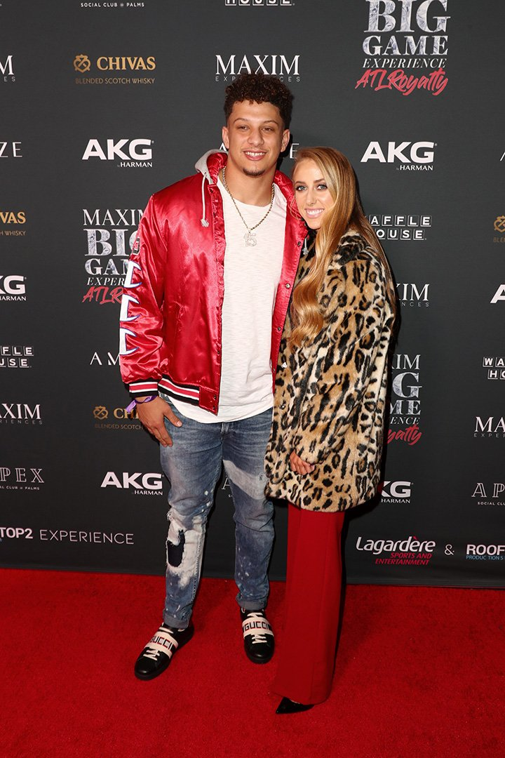 Patrick Mahomes II (L) and Brittany Matthews attend The Maxim Big Game Experience at The Fairmont on February 02, 2019 in Atlanta, Georgia.