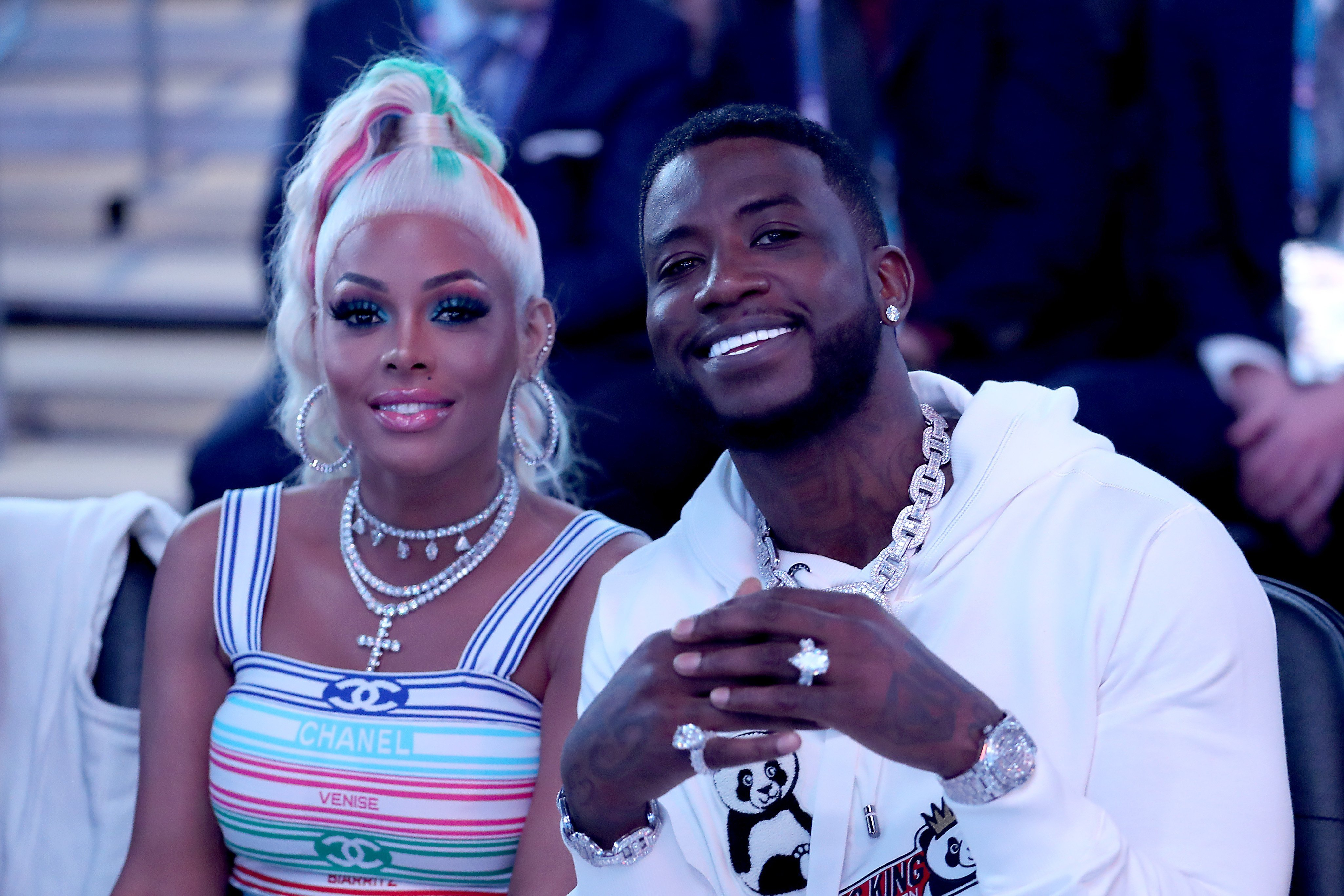 Gucci Mane and Keyshia Ka'oir at the NBA All-Star game on February 17, 2019 l Source: Getty Images