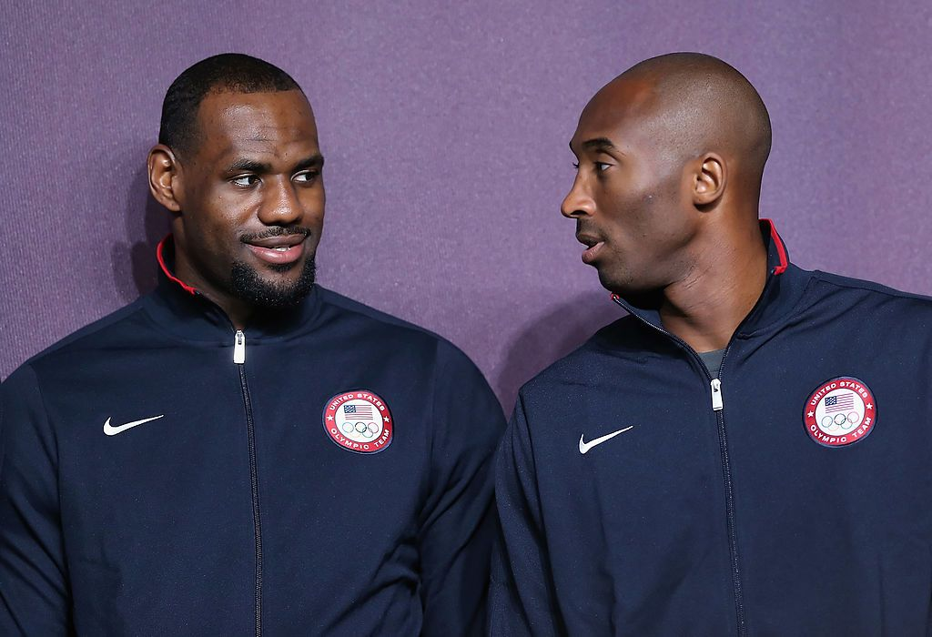 LeBron James and the late Kobe Bryant side by side at a basketball press conference ahead of the London 2012 Olympics on July 27, 2012 | Photo: Getty Images