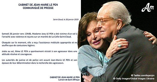 La femme de Jean-Marie Le Pen est victime d'une agression violente : elle a reçu un coup de pied et a perdu son sac