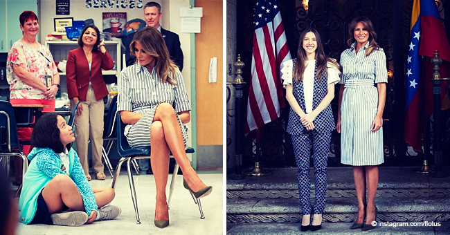 Slim-Figured Melania Trump Flashes Toned Legs in High-Heels and a Classy Striped Midi-Dress