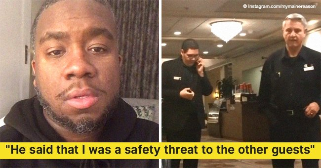 Hotel guest kicked out & has cops called on him after taking a call from his mom in the lobby